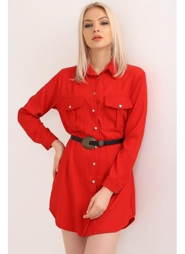 Emjey Kadife Gömlek Elbise Kırmızı